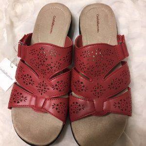 Croft & Barrow Red Adjustable Sandals sz 10